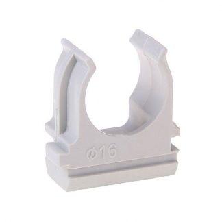 Держатель 16 мм ПВХ серый для труб (0616) Промрукав